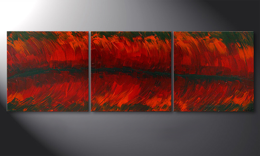 De schilderij Riven Red 180x60x2cm
