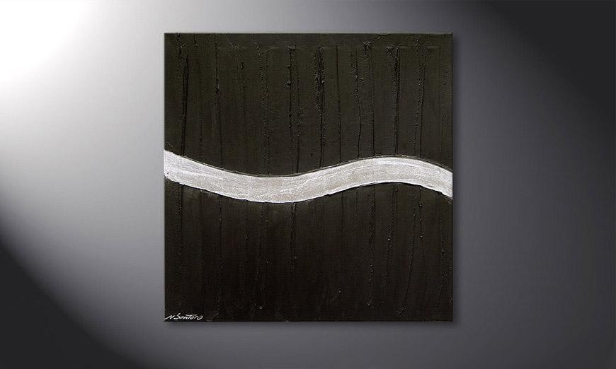 De schilderij Silver Wave  80x80x2cm