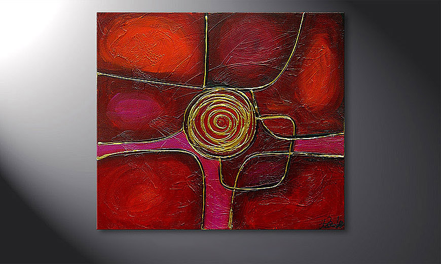 De schilderij Spinning Gold 80x70x2cm