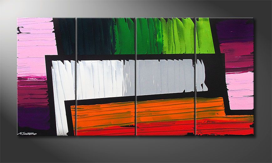 De schilderij Structure of Colors 160x80x2cm
