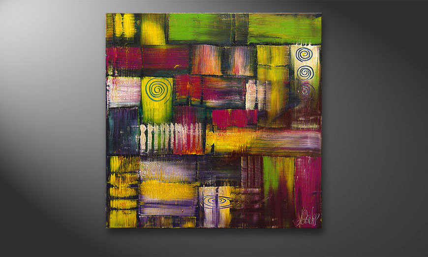 De schilderij Sunny Circles 70x70x2cm