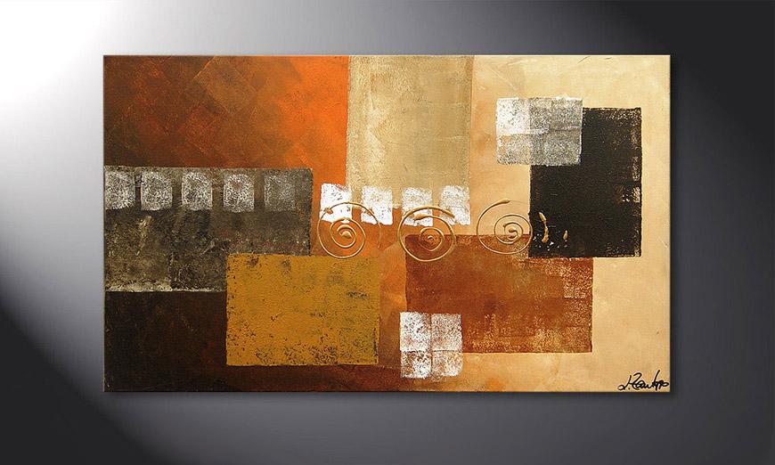De schilderij Sunny Swirl 100x60x2cm