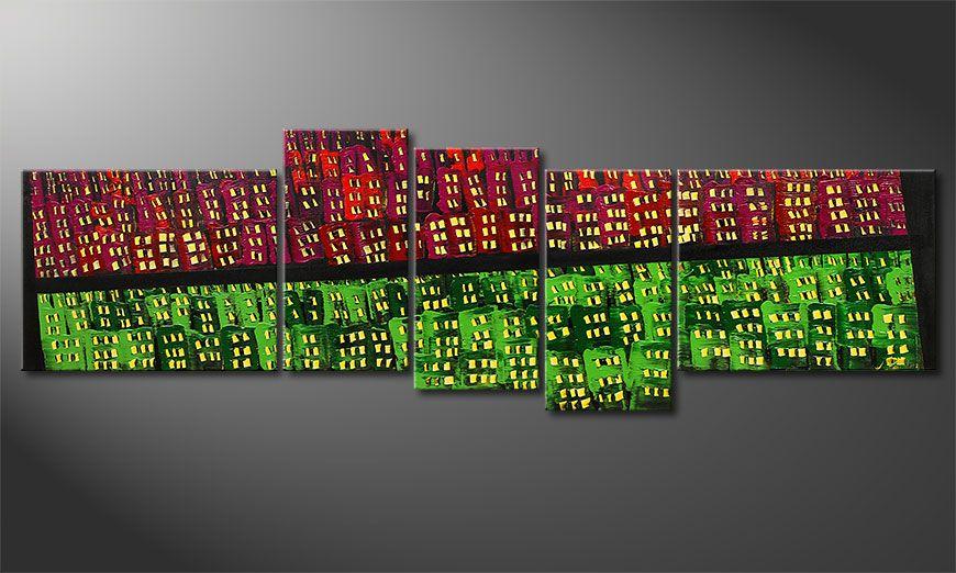 De schilderij  Urban Oasis 210x70x2cm
