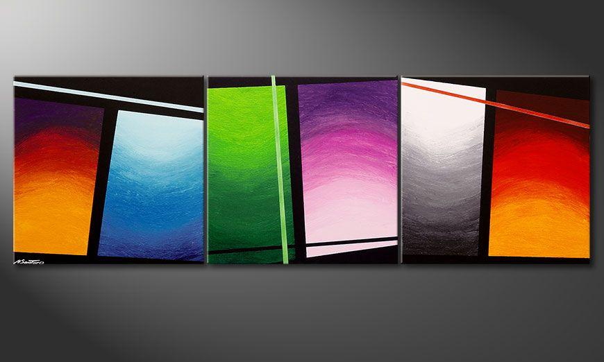De schilderij Wave of Colors 210x70x2cm