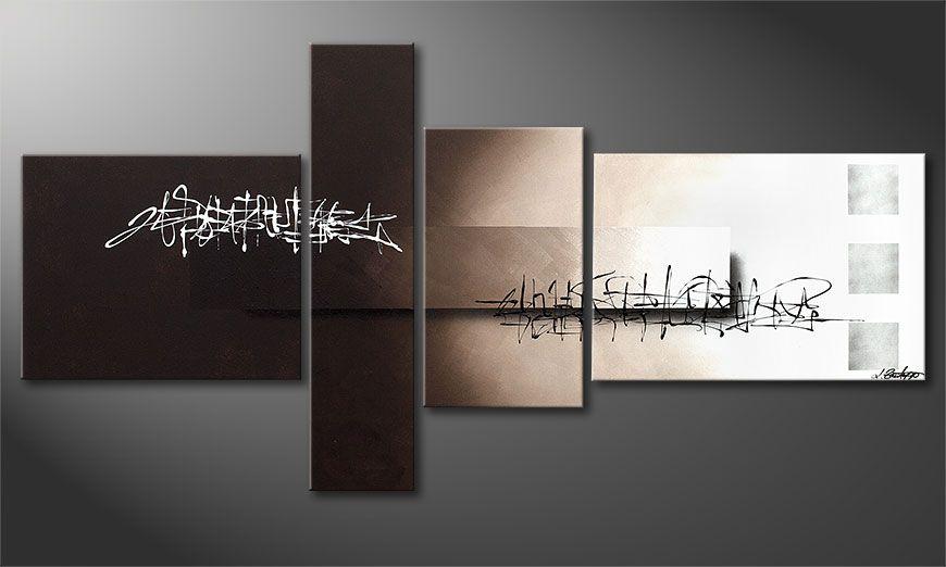 De schilderkunst Between Night & Day 160x80x2cm