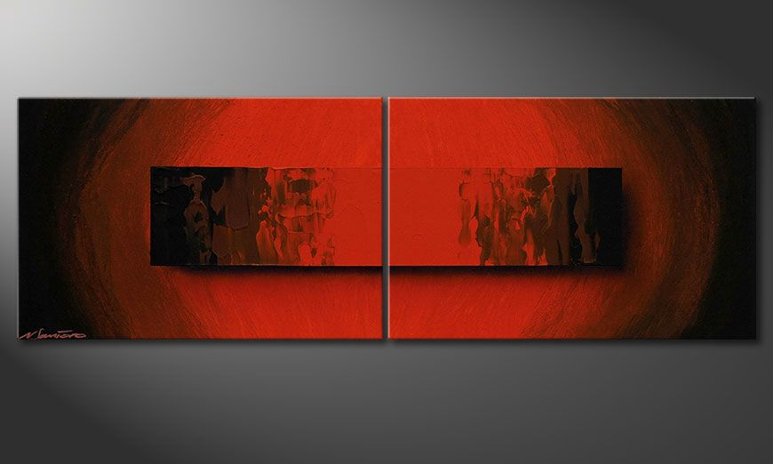 De schilderkunst Glowing Red 120x40x2cm