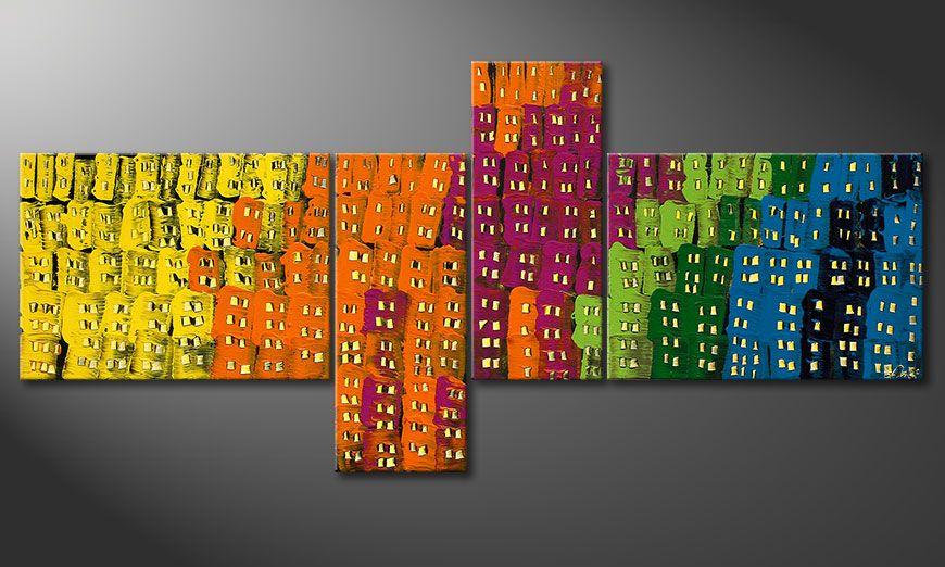 Het canvas Crazy Town 200x90x2cm