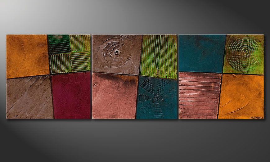 Het canvas Facets of Life 210x70x2cm