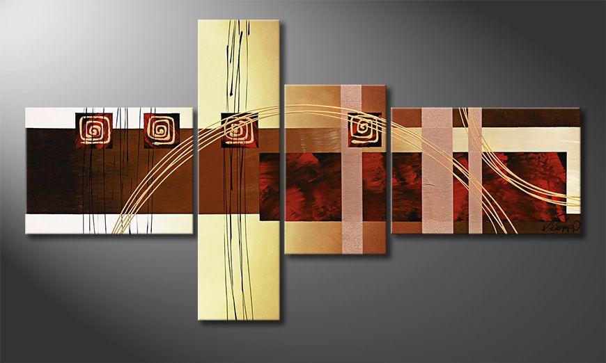Het canvas Golden Ways 130x70x2cm