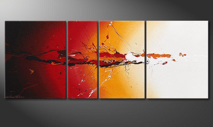 Het handgeschilderd beeld Fiery Splash 130x50x2cm