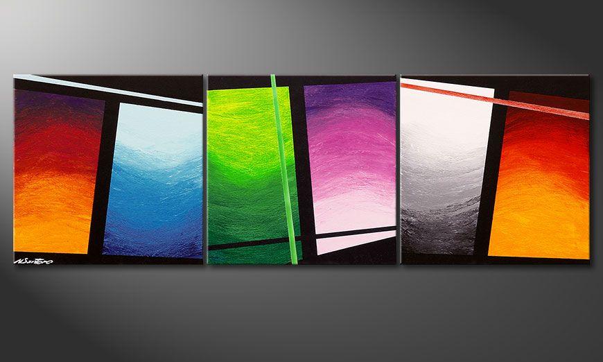 Het handgeschilderd beeld Wave of Colors 150x50x2cm