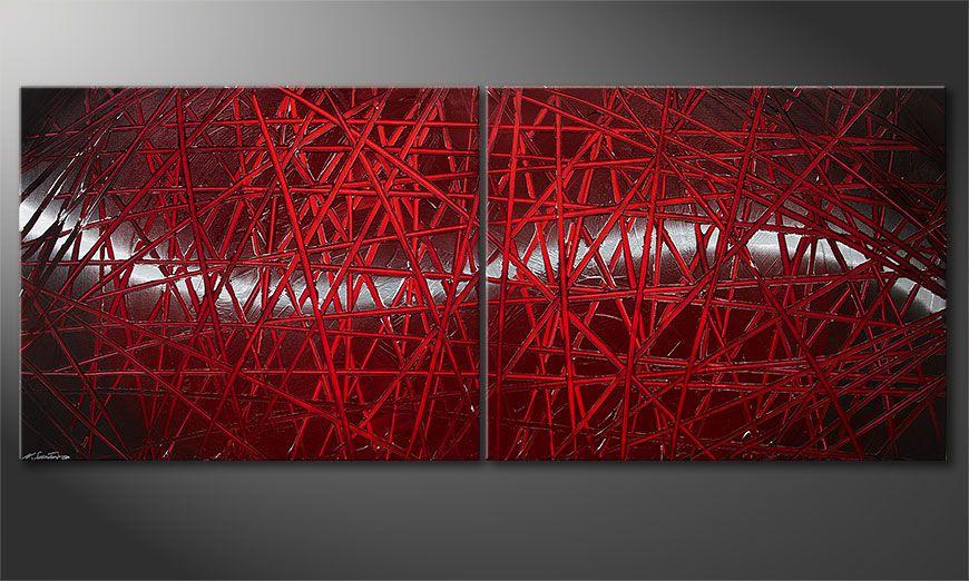 Het moderne beeld Red Push 200x80x2cm