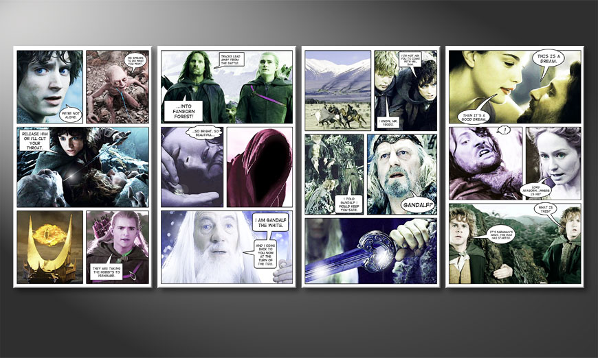 Modern wandpaneel Lord of the Rings I 160x70x2cm