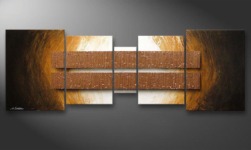 Onze schilderij Copper Blocs 200x70x2cm