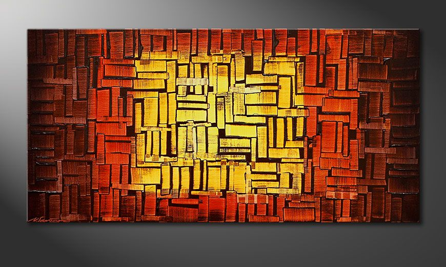 Onze schilderij Fire Cubes 120x60x2cm