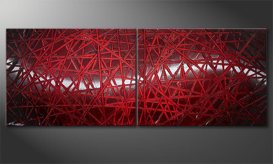 Onze schilderij Red Push 160x60x2cm