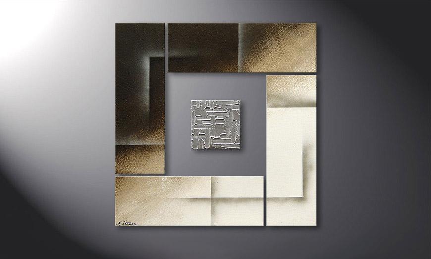 Onze schilderij Silver Cube  80x80x2cm