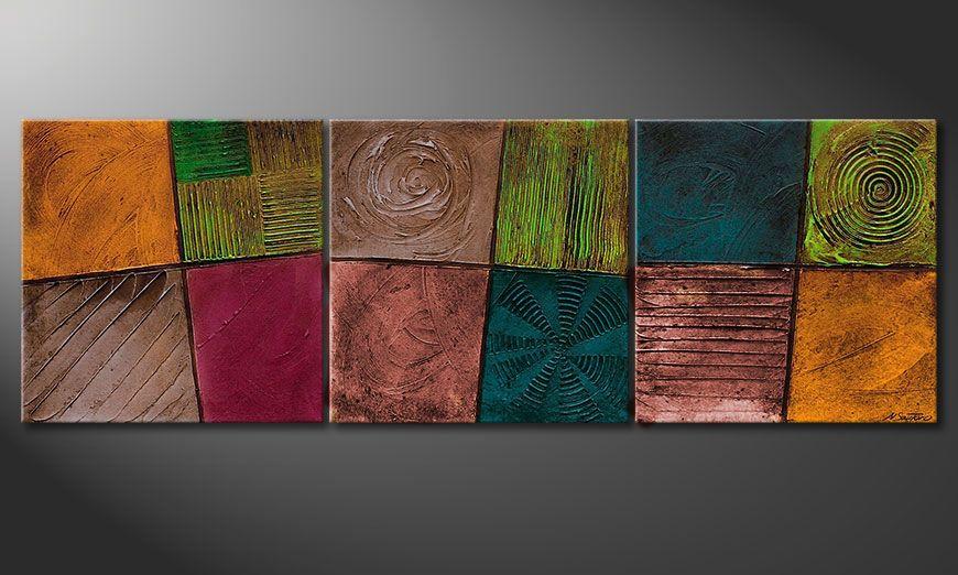 Spieraam schilderij Facets of Life 150x50x2cm