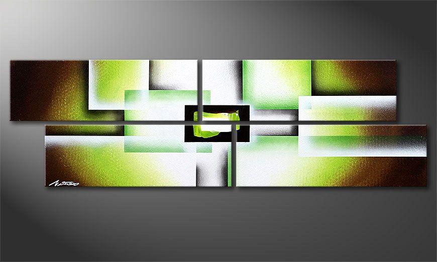 Spieraam schilderij Green Spirit 130x40x2cm