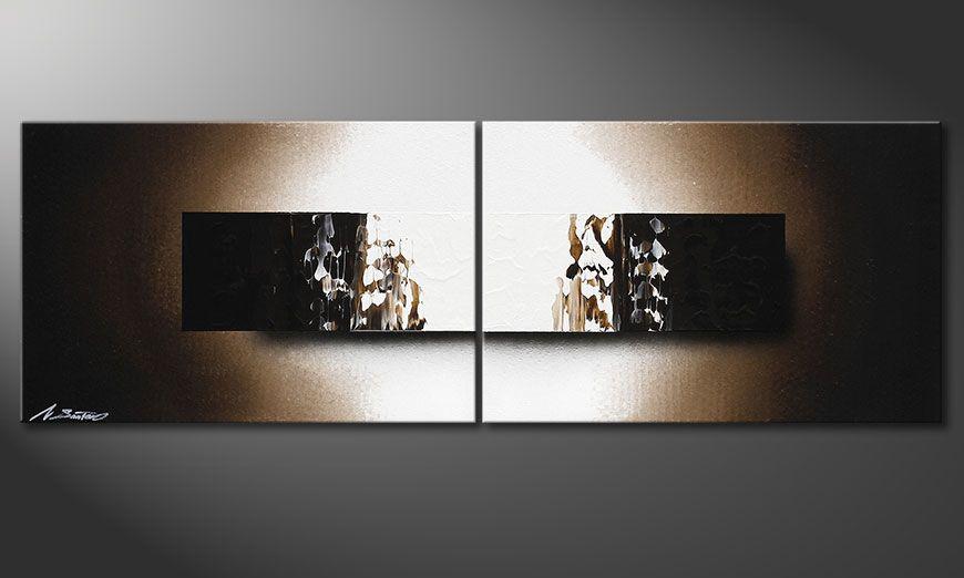 Spieraam schilderij Light Rain 120x40x2cm