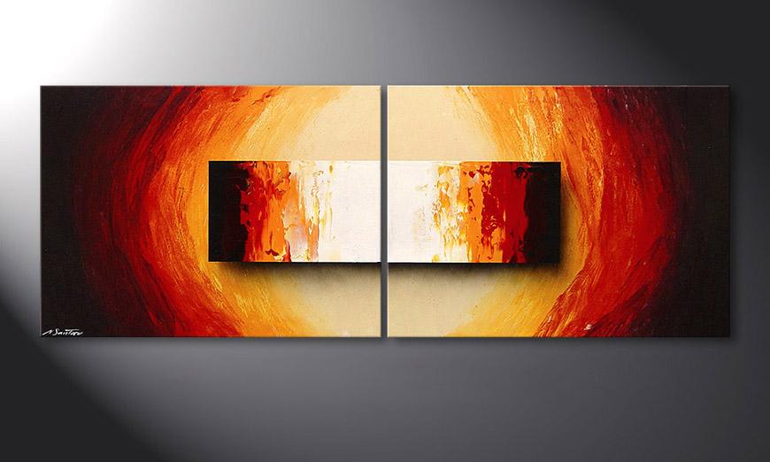 Spieraam schilderij Liquid Fire 160x60x2cm