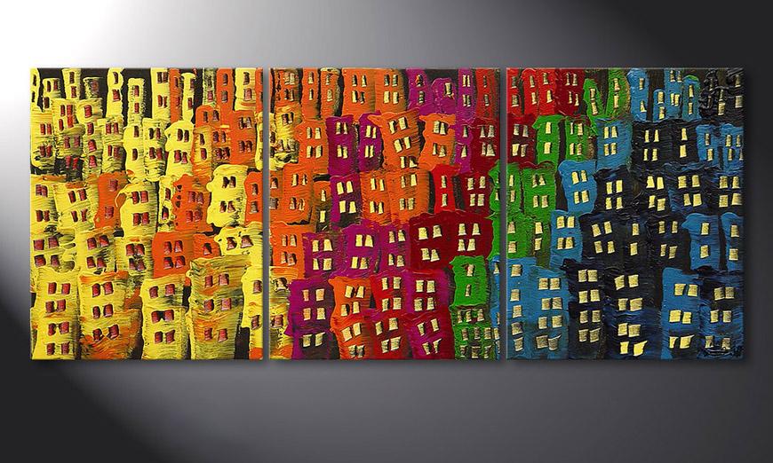 Woonkamer schilderij Afterglowing City 120x50x2cm