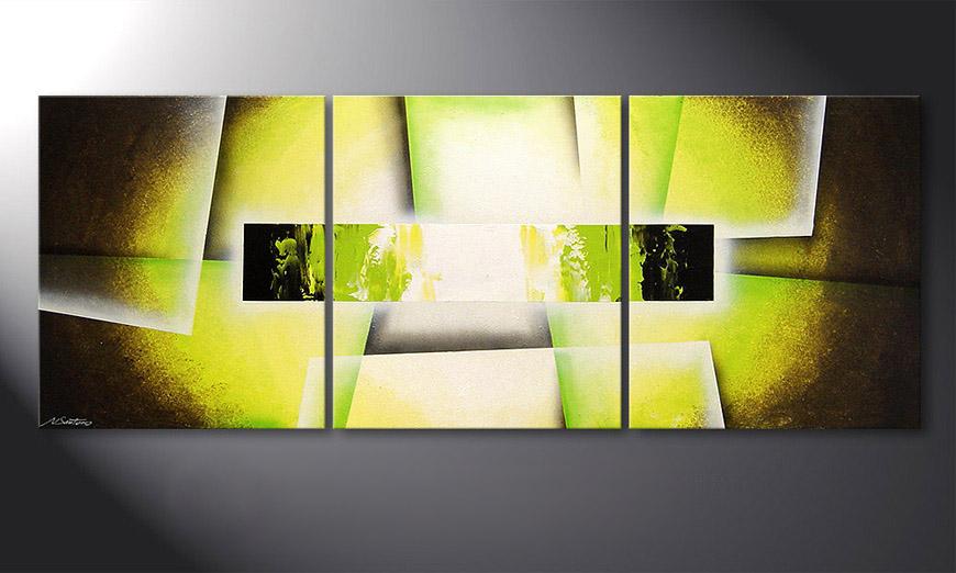 Woonkamer schilderij Broken Green 180x70x2cm