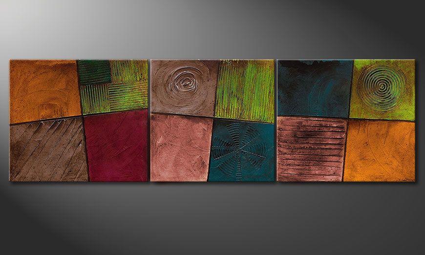 Woonkamer schilderij Facets of Life 260x80x2cm