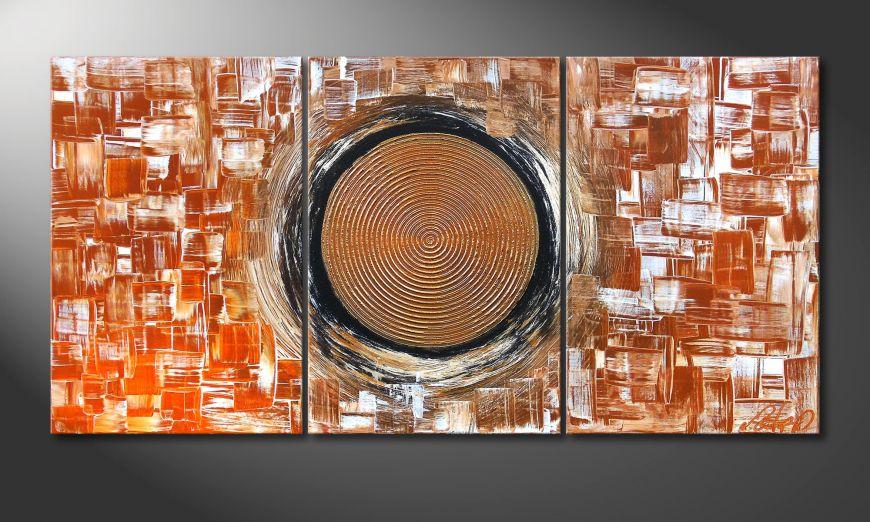 Woonkamer schilderij Golden Sun II 120x60x2cm