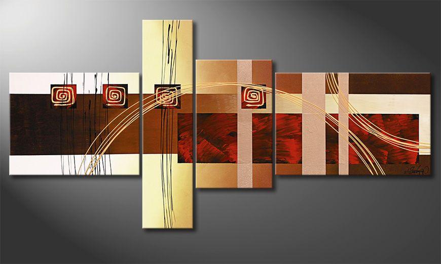 Woonkamer schilderij Golden Ways 160x80x2cm