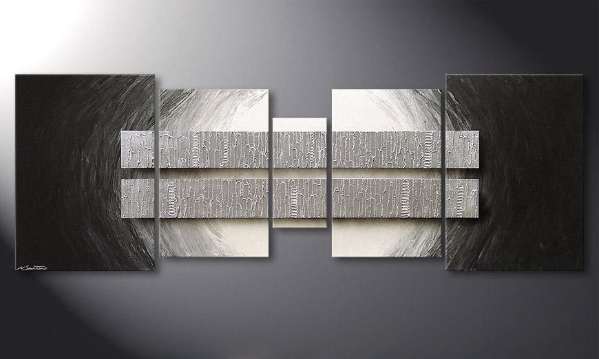 Woonkamer schilderij Silver Blocs 200x70x2cm
