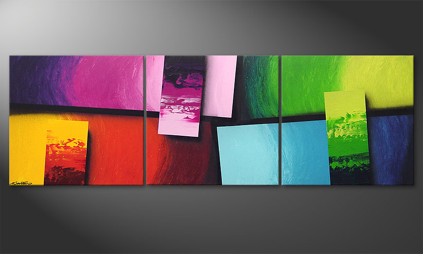 Woonkamer schilderij Squaring of Colors 210x70x2cm