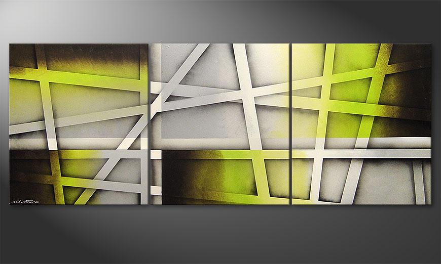 Woonkamer schilderij Vivid Green 180x70x2cm