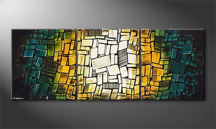 Het canvas 'Glassy Elements' 210x80cm