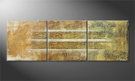Het canvas 'Golden Easiness' 210x70cm