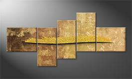 Het canvas 'Golden Night' 240x110cm