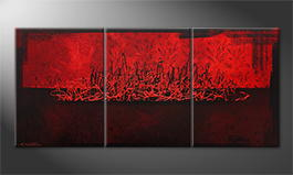 Het canvas 'Red Night' 150x70cm