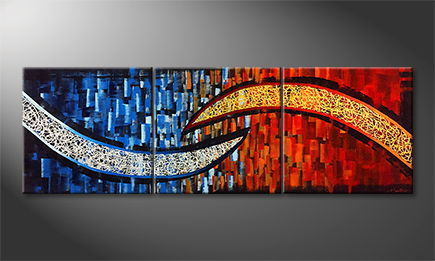 Moderne wall art 'Colliding Streams' 210x70cm