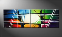 Moderne wall art 'Crashed Rainbow' 240x80cm