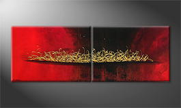 Moderne wall art 'Glowing Gold' 200x70cm