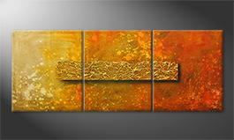 Moderne wall art 'Golden Heat' 180x70cm