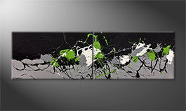 Moderne wall art 'Green Blood' 200x60cm