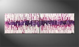 Moderne wall art 'Growing Pink' 200x60cm