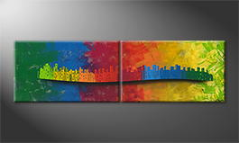 Moderne wall art 'Moving Town' 200x60cm