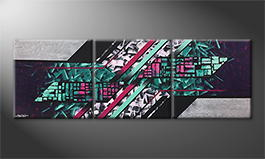 Moderne wall art 'Neon Night' 210x70cm
