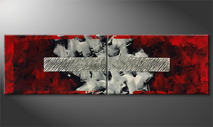 Moderne wall art 'Red Framed' 200x60cm