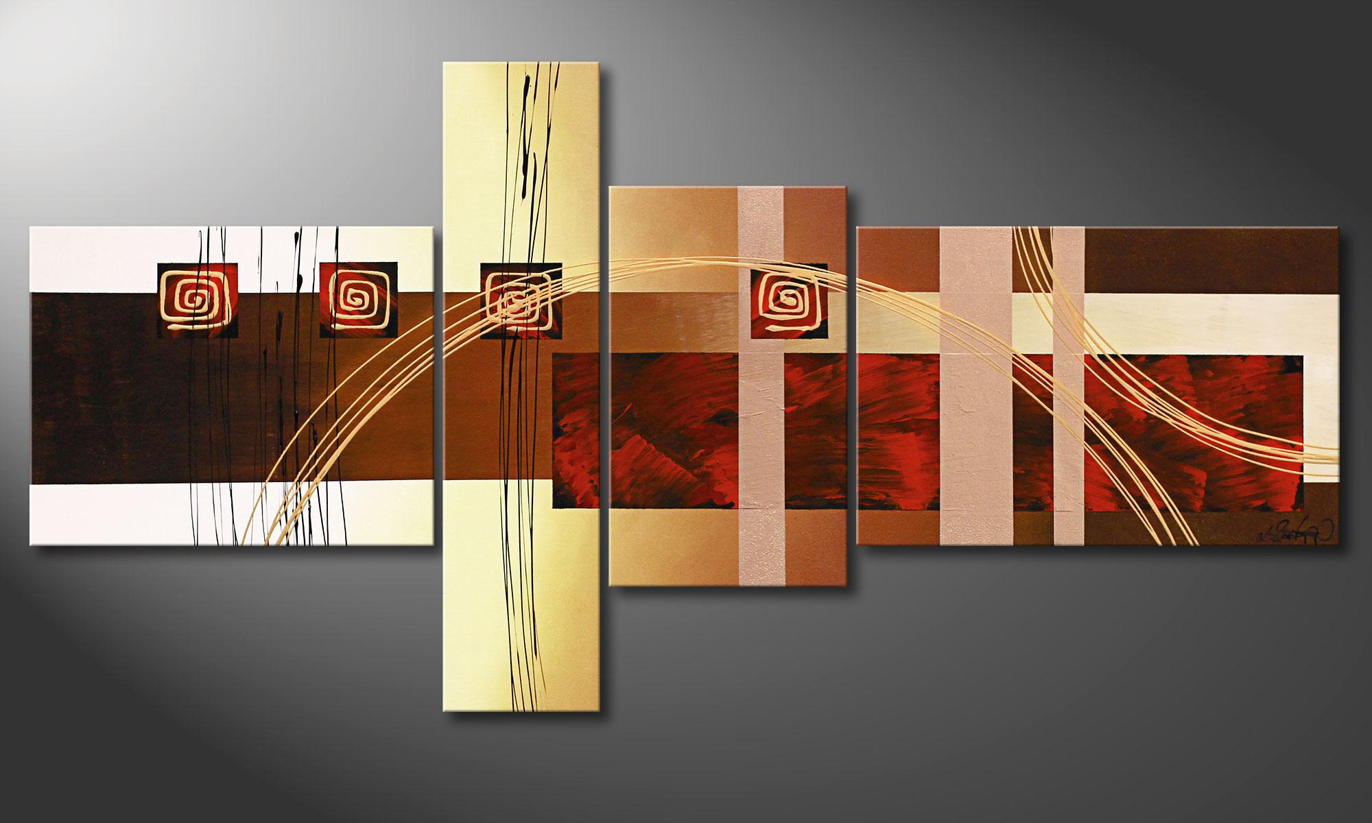 Woonkamer schilderij Golden Ways 160x80cm - Schilderij XXL