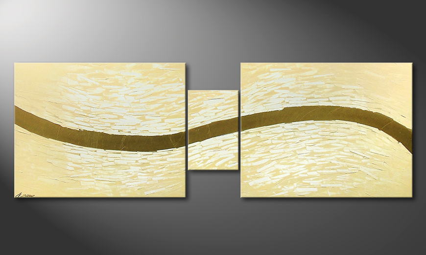 De moderne schilderij Gentle River 230x80x2cm
