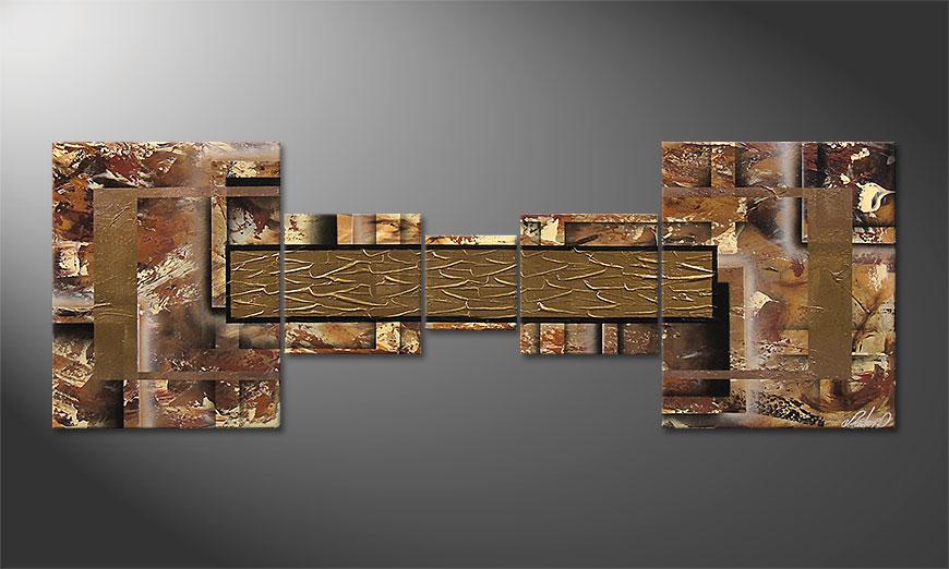 De moderne schilderij Golden Treasure 180x60x2cm