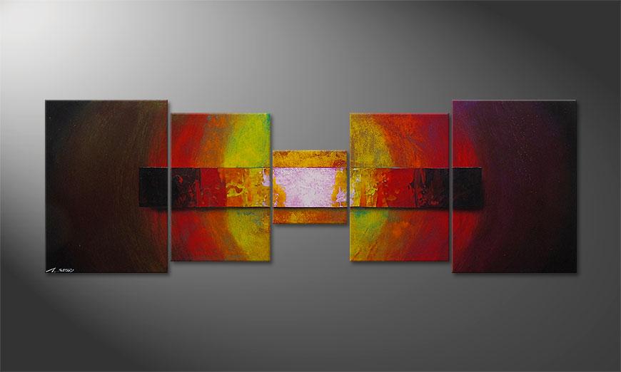 De schilderij Afterglowing Sky 210x70x2cm